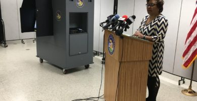 Clerk Yarbrough Demonstrates New          Voting Equipment